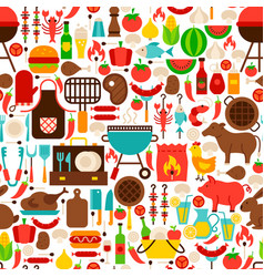 Barbecue flat seamless pattern vector