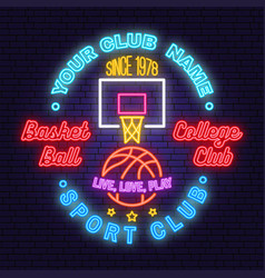 basketball club neon design or emblem vector image