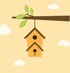 Birdhouse on branch vector