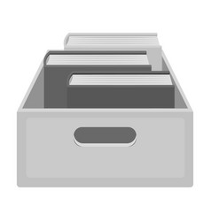Books in box icon in monochrome style isolated on vector