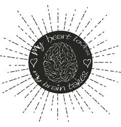 Brain lettering vector