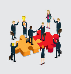 business isometric for agreement success vector image