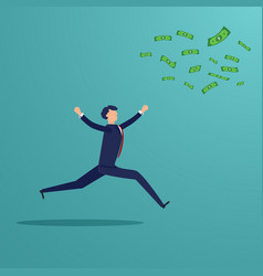 Businessman running to catch money banknote that vector