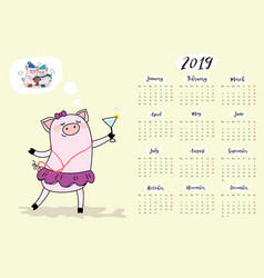 Calendar 2019 with funny and cute pigpork symbol vector