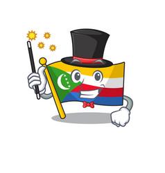 Cartoon character design flag comoros magician vector