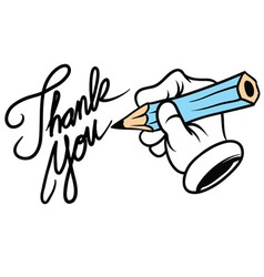 Cartoon hand writing thank you vector