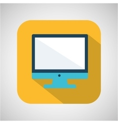 cartoon monitor computer with shadow yellow vector image