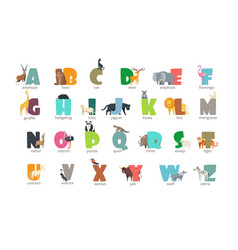 cartoon wild animals kids alphabet for children vector image