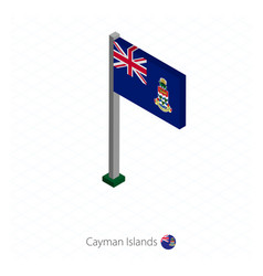 Cayman islands flag on flagpole in isometric vector
