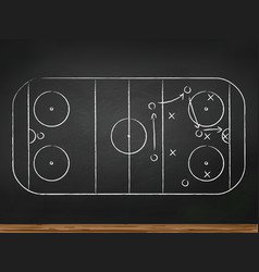 Chalkboard with hockey game tactic vector