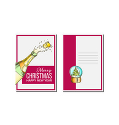 Christmas greeting card champagne bottle vector