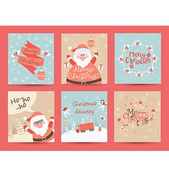 Christmas Greeting Cards set vector image