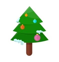Christmas Tree Isolated on White Cartoon Fir vector