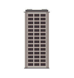 city high-rise building front view in flat style vector image