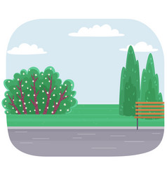 city park with road wooden bench green bushes vector image