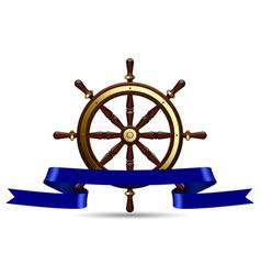 classic brown marine round wood steering wheel vector image