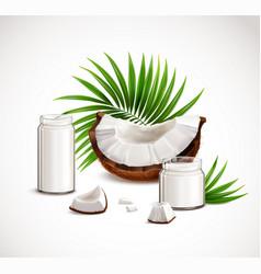 coconut realistic composition vector image