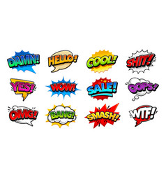 comic speech bubbles pop art set vector image