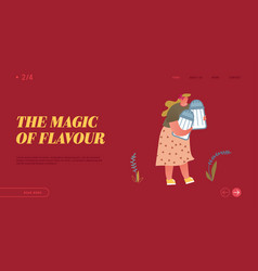 cooking and spice website landing page cute fatty vector image