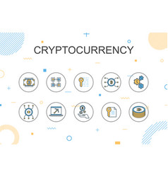 cryptocurrency trendy infographic template thin vector image