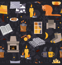 Cute hygge seamless pattern harmony and happiness vector