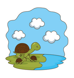 Cute turtles family in the camp vector