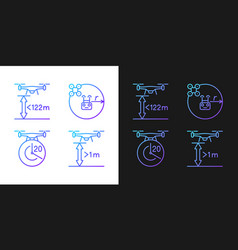 Drone manage gradient manual label icons set vector