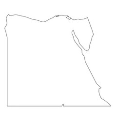 Egypt - solid black outline border map of country vector