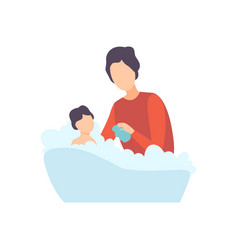 Father bathing baby in bathtub parent taking care vector