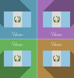 Flags Guatemala Set of colors flat design and long vector image