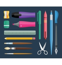 Flat stationery and drawing tools pen set vector