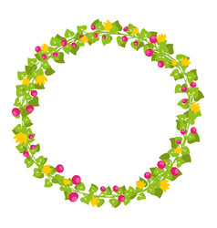 floral circle isolated with red berries and yellow vector image
