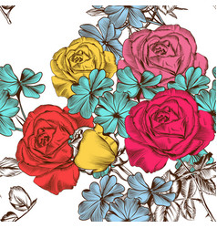 floral seamless pattern with colorful roses vector image