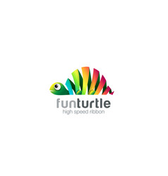 funny colorful ribbon abstract turtle logo design vector image