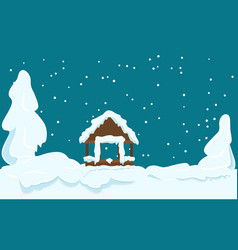 Gazebo covered with snow winter scene vector
