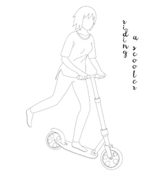 Girl Riding a Scooter vector