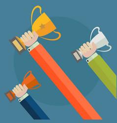 Hands holding trophies winner concept vector