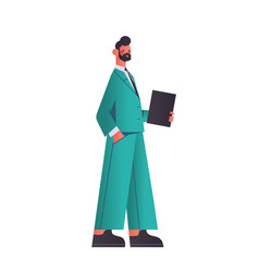 happy businessman holding folder business man vector image