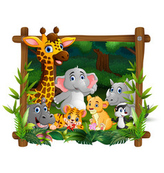 happy wild animals in frame forest vector image
