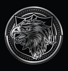 head eagle head on circle silver logo vector image