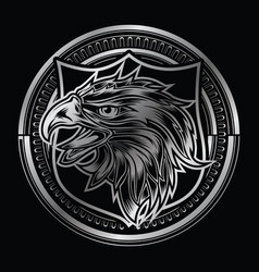 Head eagle on circle silver logo vector
