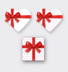 heart shaped gift box with ribbon vector image