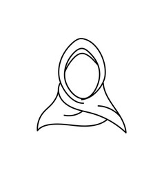 hijab outline icon design template isolated vector image