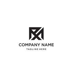 initial letter rm mr logo design vector image