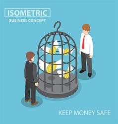 Isometric flying dollar trapped in bird cage vector