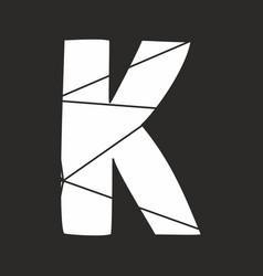 k white alphabet letter isolated on black vector image