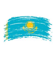 Kazakhstan flag in grunge brush stroke vector