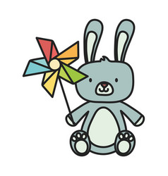 Kids toy cute rabbit and pinwheel toys vector