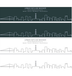 Lisbon single line skyline banner vector