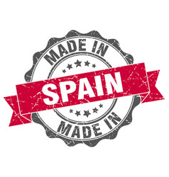 made in spain round seal vector image